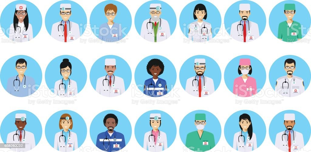 Medical concept. Different doctors, nurses characters avatars icons set in flat style isolated on blue background. Differences medical persons smiling faces. Vector illustration vector art illustration