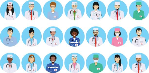 illustrazioni stock, clip art, cartoni animati e icone di tendenza di medical concept. different doctors, nurses characters avatars icons set in flat style isolated on blue background. differences medical persons smiling faces. vector illustration - dottoressa