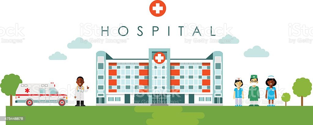 Medical concept hospital building, doctor and nurse in flat style