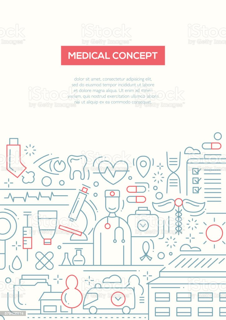 Medical Concept - line design brochure poster template A4 vector art illustration