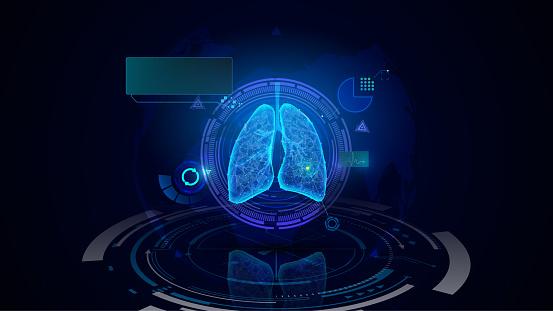 medical concept lung diagnostics health care hud UI hi tech futuristic design