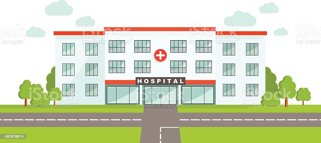 Medical concept. Panoramic background with hospital building. vector art illustration