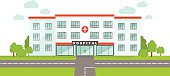 Medical concept. Panoramic background with hospital building.