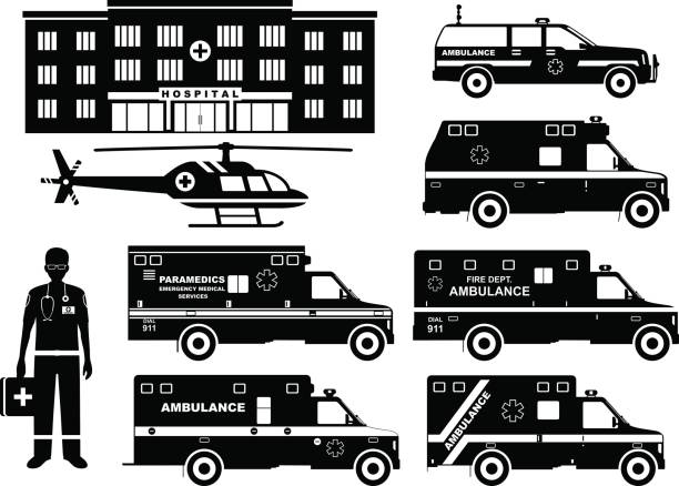 Medical concept. Set of different silhouettes ambulance cars, hospital, emergency doctor man and helicopter isolated on white background. Vector illustration. vector art illustration