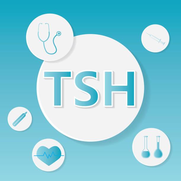 ilustraciones, imágenes clip art, dibujos animados e iconos de stock de concepto médico de tsh (hormona estimulante de tiroides) - thyroxine