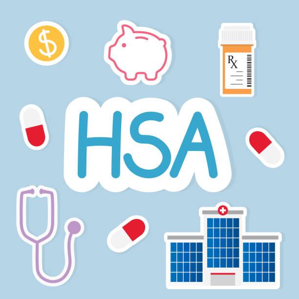 медицинская концепция hsa (сберегательный счет здоровья) - physical therapy stock illustrations