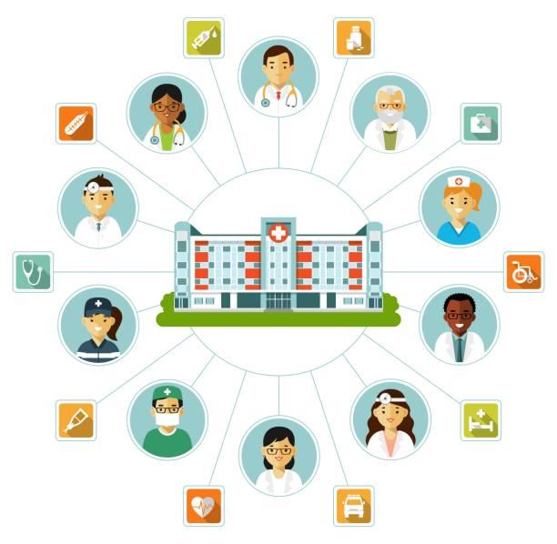 ilustraciones, imágenes clip art, dibujos animados e iconos de stock de concepto médico con edificio del hospital de estilo plano aislado sobre fondo blanco. - infografías de medicina