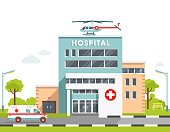 City background with hospital building, ambulance car and helicopter isolated on white