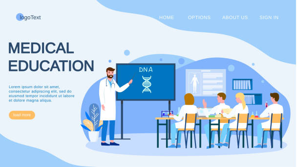 Medical conference and education about dna in clinic, vector illustration. Flat doctor study research in medicine science, landing vector art illustration