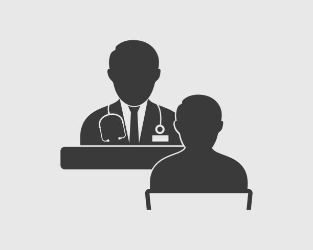 Medical consultant icon on gray background Medical consultant icon on gray background doctor and patient stock illustrations