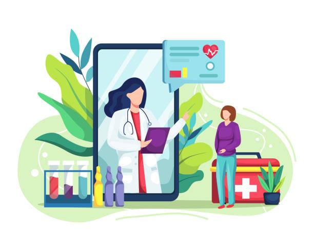 ilustraciones, imágenes clip art, dibujos animados e iconos de stock de consulta médica por internet con el doctor - telehealth