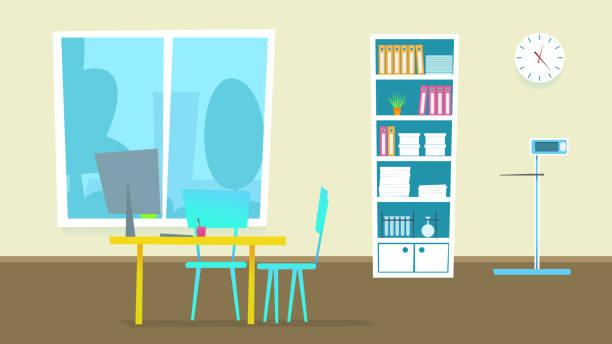 ilustrações, clipart, desenhos animados e ícones de gabinete de consulta médica. ilustração em vetor. - consultório médico
