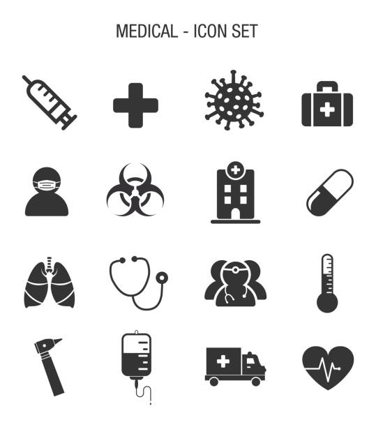 Medical Contagion Icon Set Vector of Medical Contagion Icon Set biohazardous substance stock illustrations