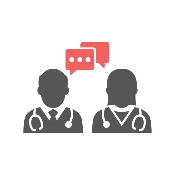 medical conversation icon - physician stock illustrations, clip art, cartoons, & icons