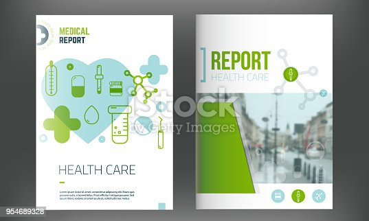 istock Medical cover template. Flyer with inline medicine icons, Modern Infographic Concept for annual report. Vector 954689328