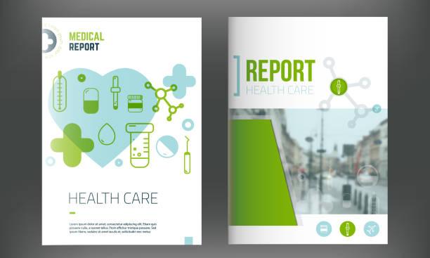 의료 서식 파일입니다. 연례 보고서에 대 한 현대적인 infographic 개념 인라인 의학 아이콘, 플라이어. 벡터 - 가리기 stock illustrations