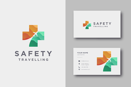 Medical cross and motion plane icon, safety traveling icon vector template and business card template