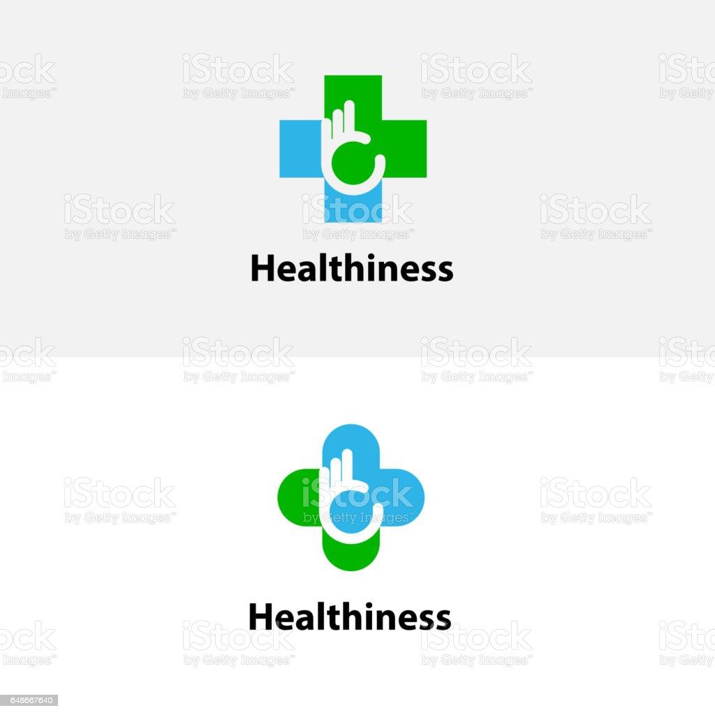 Médico icono de la Cruz y la mano. Plantilla de diseño de logo de vector de centro médico. Símbolo de la asistencia sanitaria y médica. - ilustración de arte vectorial
