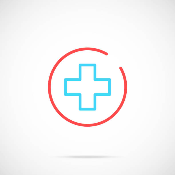 medical cross icon. medicine, healthcare concept. thin line design. vector icon - first aid stock illustrations, clip art, cartoons, & icons