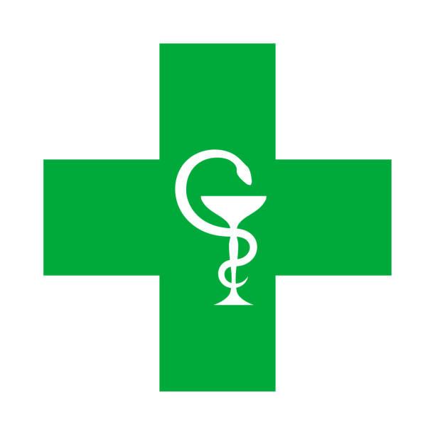 illustrazioni stock, clip art, cartoni animati e icone di tendenza di medical cross (with the bowl of hygeia). modern emblem of healthcare, medicine and pharmacy. - croce farmacia