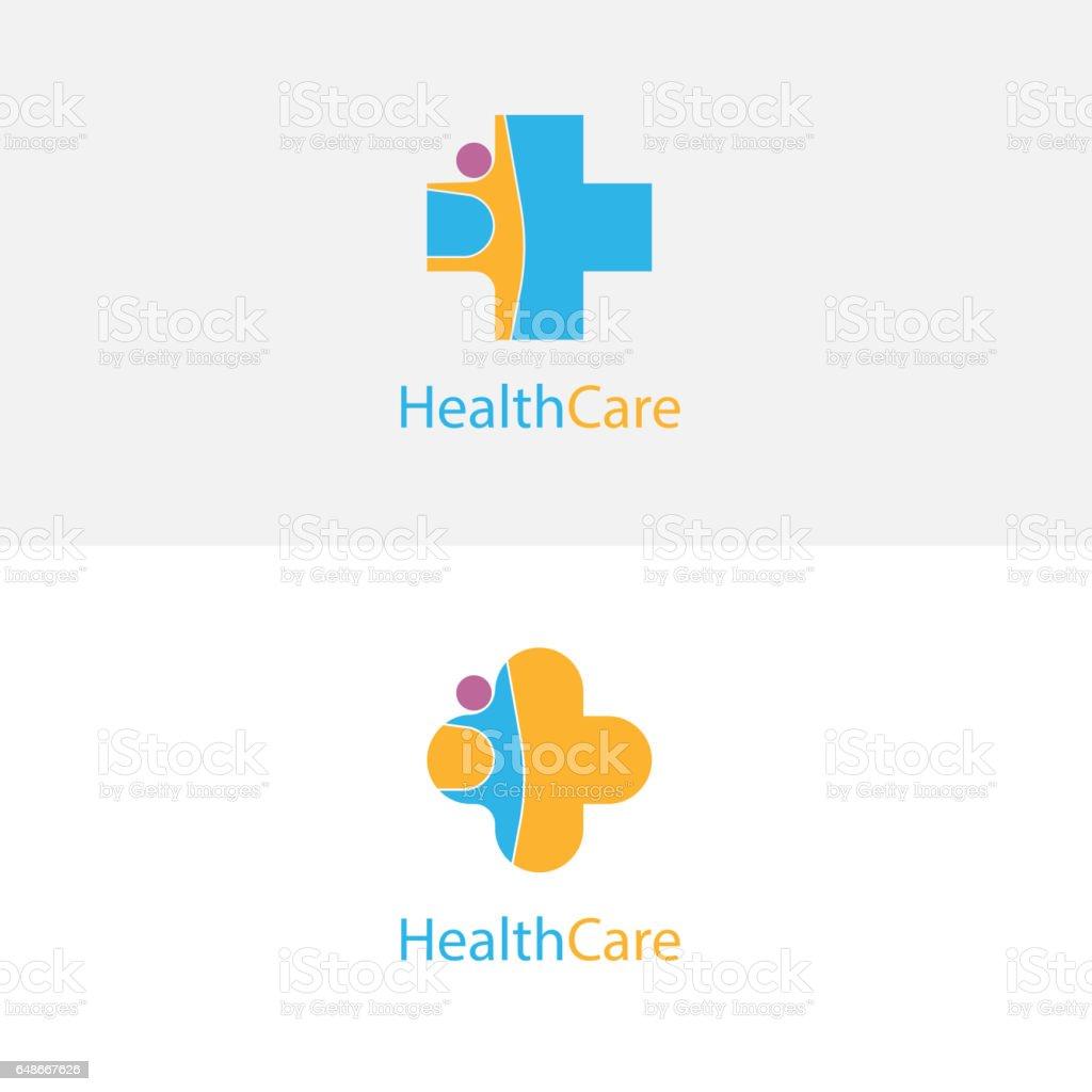 Icono de Cruz y personas médico. Plantilla de diseño de logo de vector de centro médico. Símbolo de la asistencia sanitaria y médica. - ilustración de arte vectorial