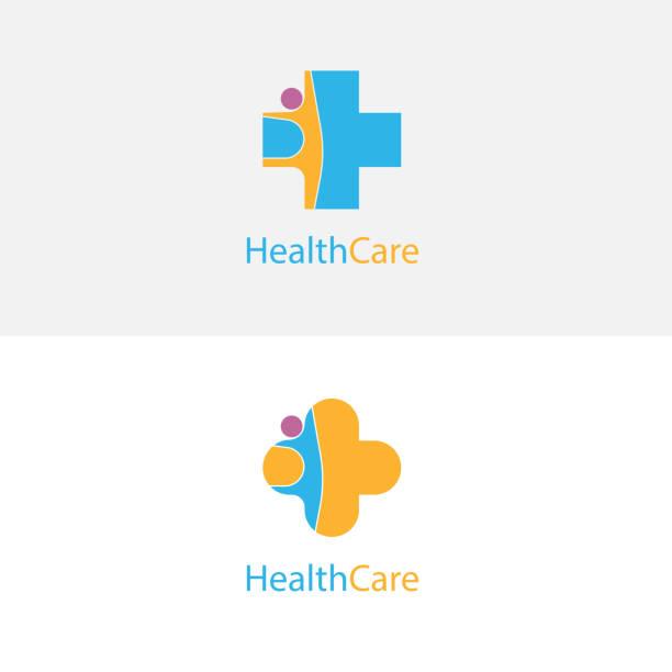 ilustraciones, imágenes clip art, dibujos animados e iconos de stock de icono de cruz y personas médico. plantilla de diseño de logo de vector de centro médico. símbolo de la asistencia sanitaria y médica. - logos de médico