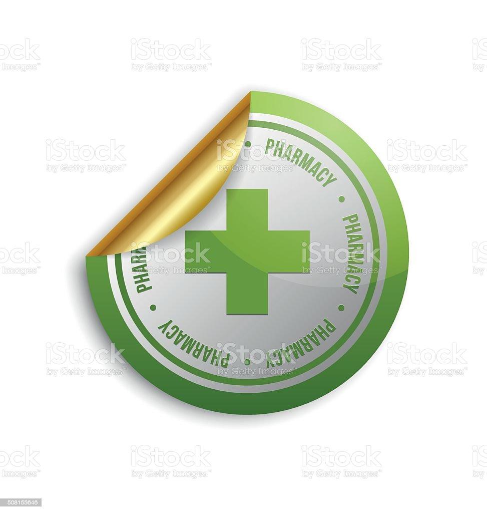 Medical cross pharmacy sticker vector art illustration