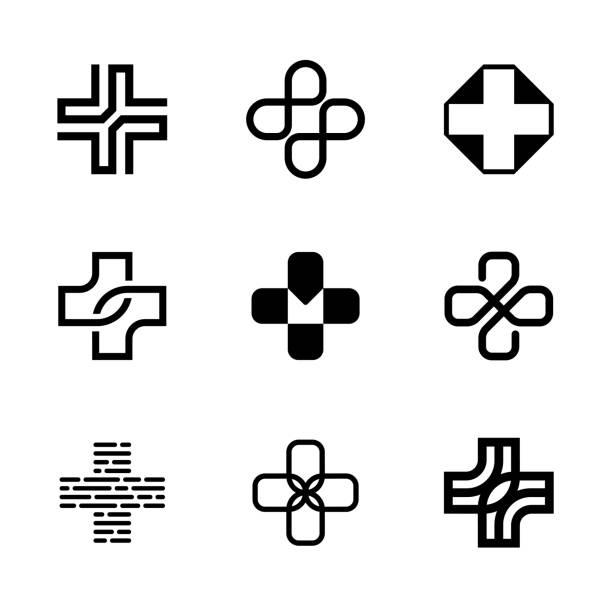 ilustraciones, imágenes clip art, dibujos animados e iconos de stock de cruz médica además de conjunto de plantillas de logotipo - logos de médico
