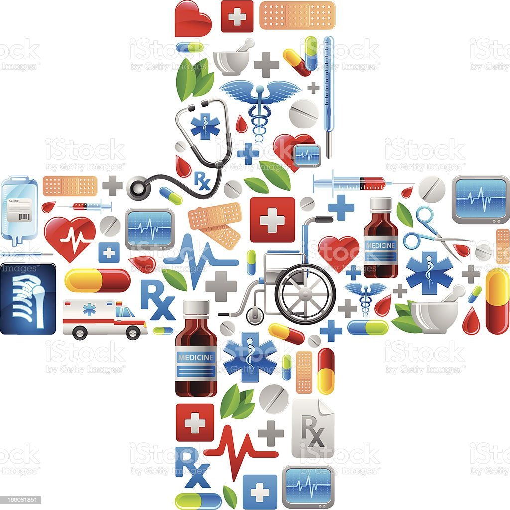Medical Cross with color icons royalty-free stock vector art