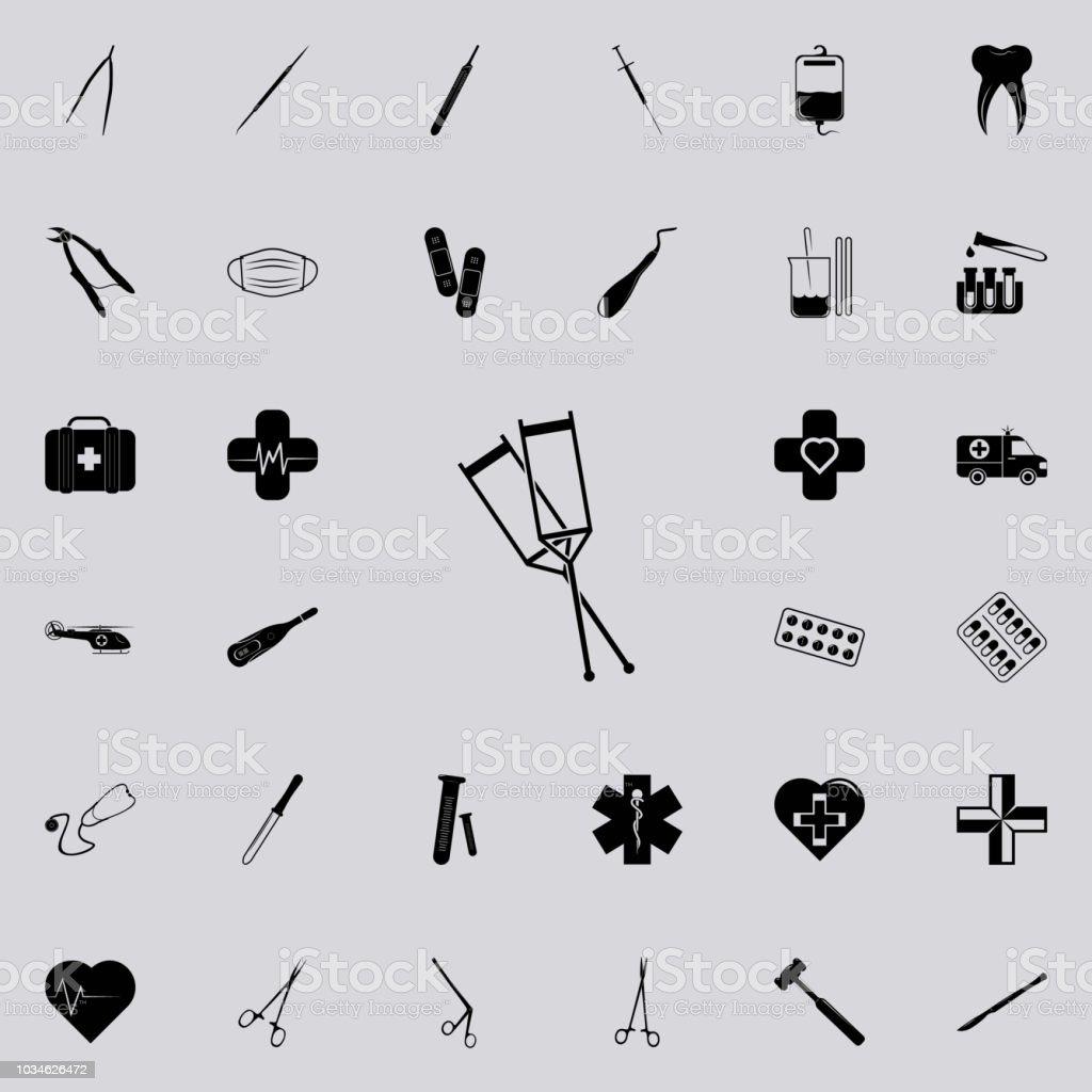 medizinische Krücken Symbol. Medizin-Ikonen universal set für Web und mobile – Vektorgrafik