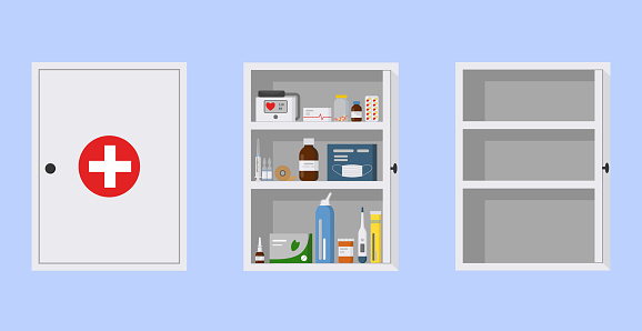 Medical cupboard, flat vector illustration. White medicine chest first aid kit on blue background