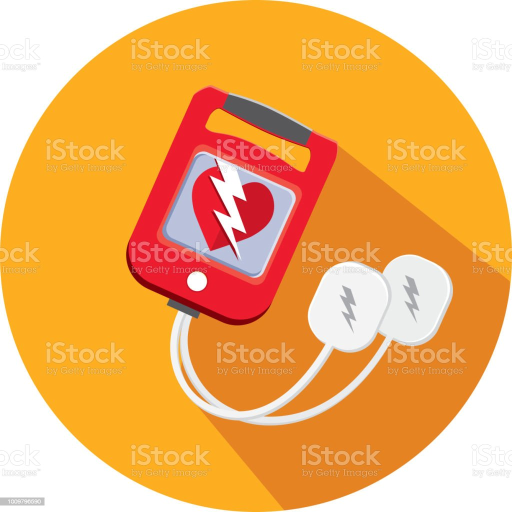 Medical Defibrillator Flat Design themed Icon Set with shadow vector art illustration