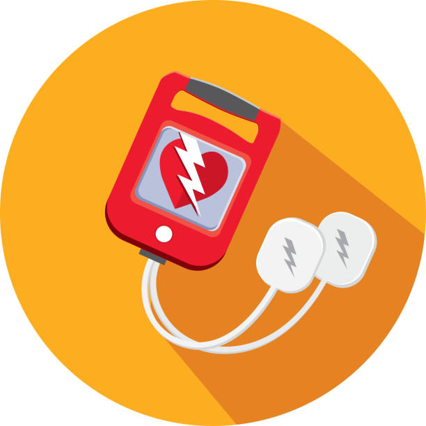 Medical Defibrillator Flat Design themed Icon Set with shadow vector art illustration