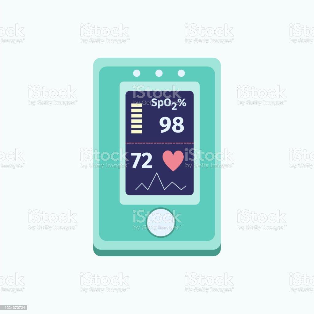 Medizinisches Gerät zur Überwachung der Sauerstoffsättigung. Pulsoximeter-Symbol.  Lungenentzündung, Lungeninfektion und Coronavirus-Wachheit. - Lizenzfrei Ansteckende Krankheit Vektorgrafik
