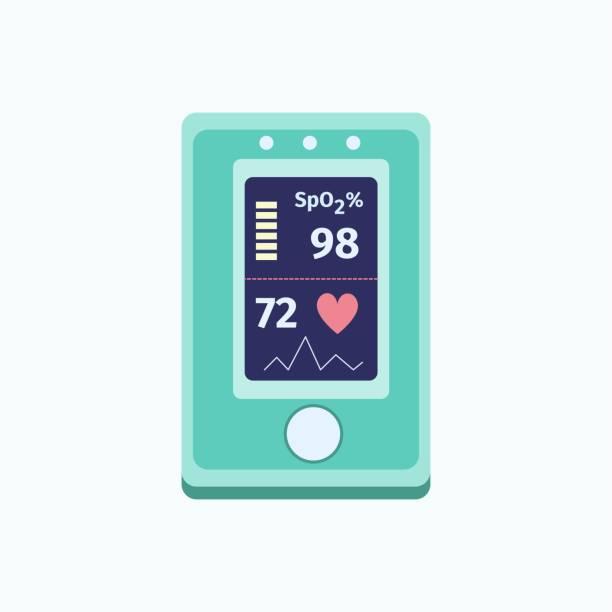 medizinisches gerät zur überwachung der sauerstoffsättigung. pulsoximeter-symbol.  lungenentzündung, lungeninfektion und coronavirus-wachheit. - smartphone mit corona app stock-grafiken, -clipart, -cartoons und -symbole