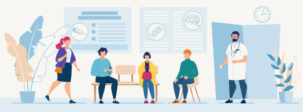 Medical Diagnosis for Illness People Flat Banner Patients Sitting in Chairs Waiting Appointment Time at Hospital Doctor Consultation Modern Clinic Vector Illustration Man Physician in Uniform Welcoming Visitors Medical Diagnosis for Illness People doctor and patient stock illustrations