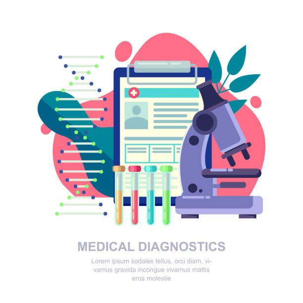 ilustrações, clipart, desenhos animados e ícones de conceito de diagnóstico médico. pesquisas de laboratório, o dna e o exame de sangue vector ilustração plana - pesquisa médica