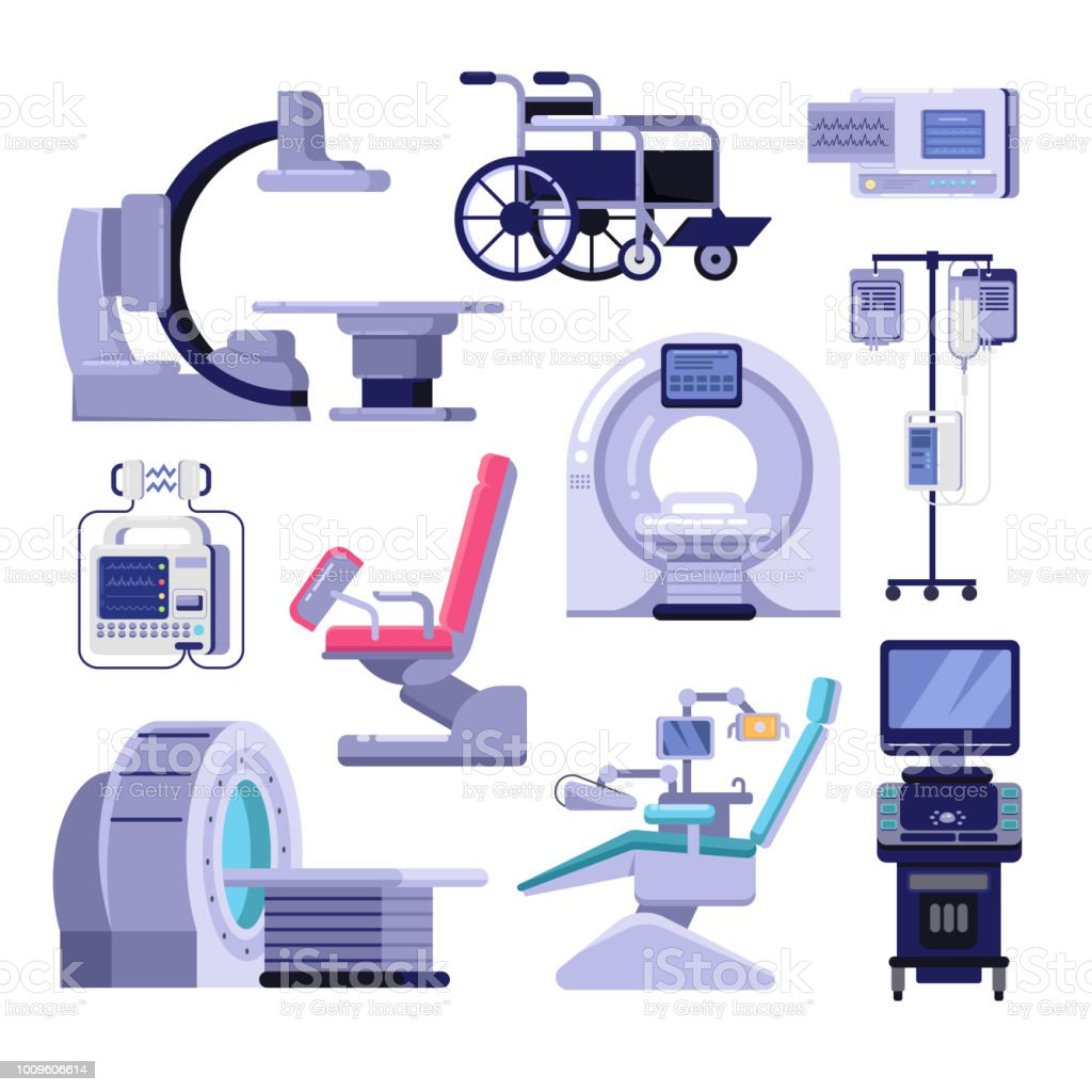 Medical diagnostic examination equipment. Vector illustration of MRI, gynecology and dentist chair, ultrasound machine. vector art illustration