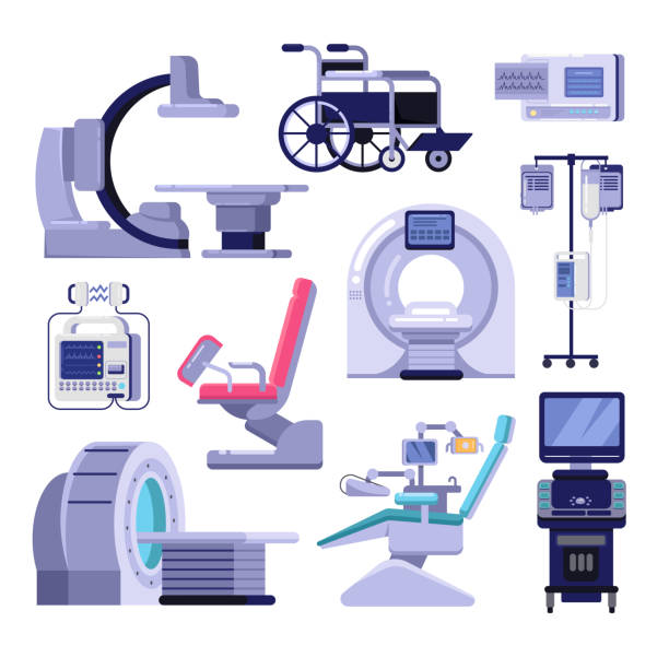 Medical diagnostic examination equipment. Vector illustration of MRI, gynecology and dentist chair, ultrasound machine. Medical diagnostic and examination equipment. Vector illustration of MRI scanner, gynecology and dentist chair, wheelchair, blood transfusion, cardiograph, ultrasound, radiology x-ray machine. medical equipment stock illustrations