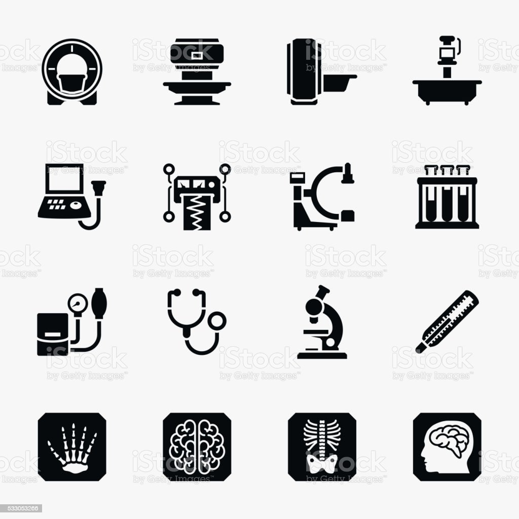 Medical diagnostic vector icons set vector art illustration