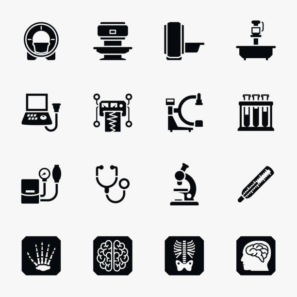 Medical diagnostic vector icons set Medical diagnostic vector icons set. Medical diagnostic, health diagnostic symbol, science diagnostic laboratory illustration radiology stock illustrations
