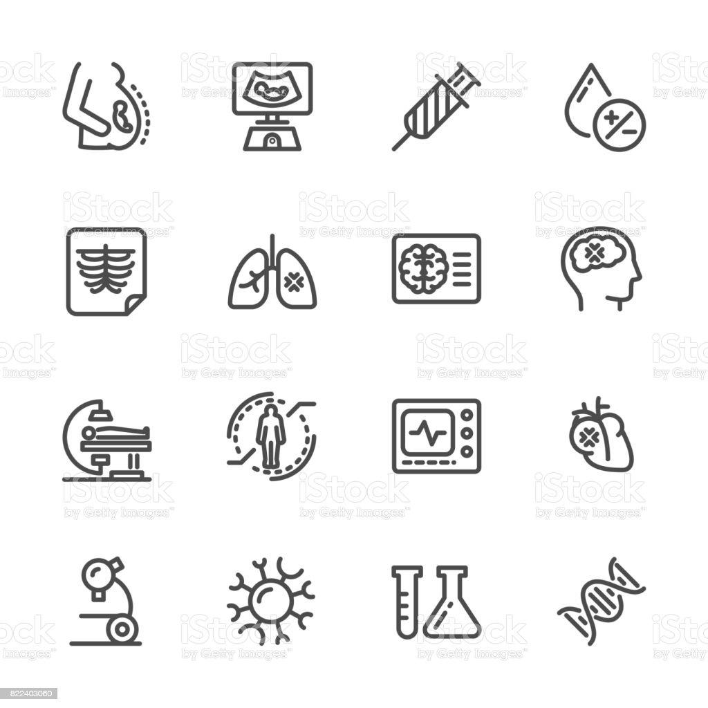Medical diagnostics. Health check up. Vector line icons vector art illustration