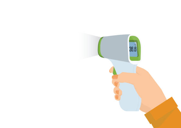 Medical Digital Infrared Thermometer. Medical Digital Infrared Thermometer isolated on white background. infrared stock illustrations