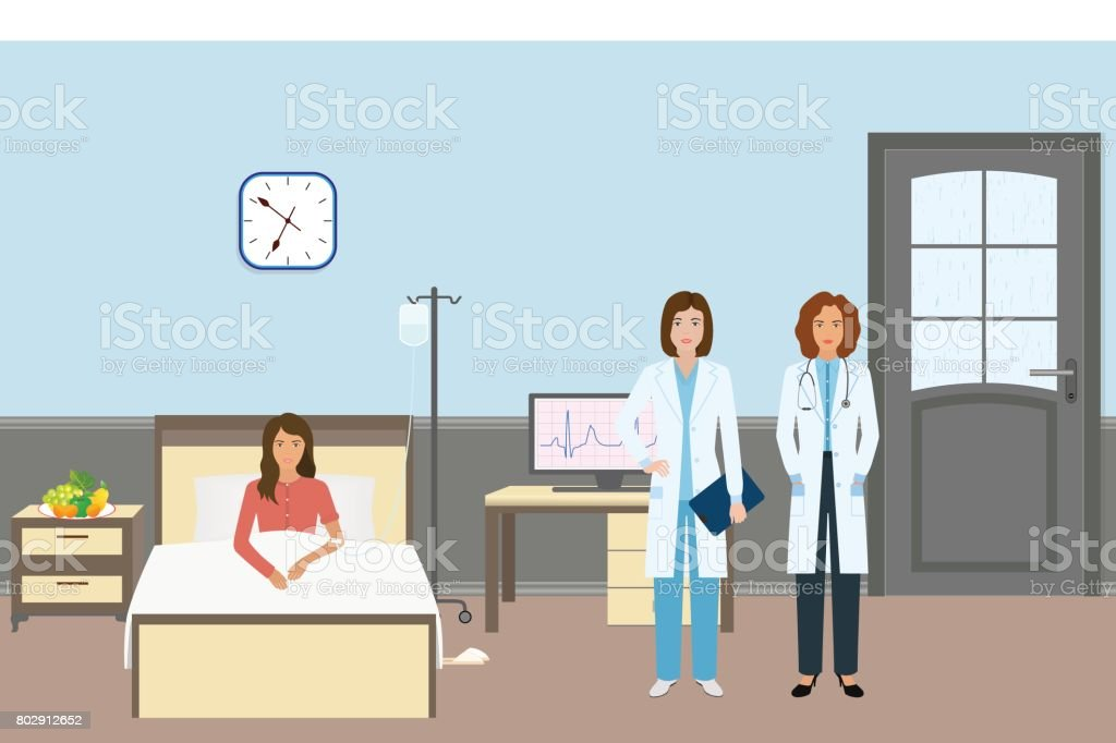 Medical doctor and nurse with a female patient. Medicine workers standing near sick woman in hospital ward. vector art illustration