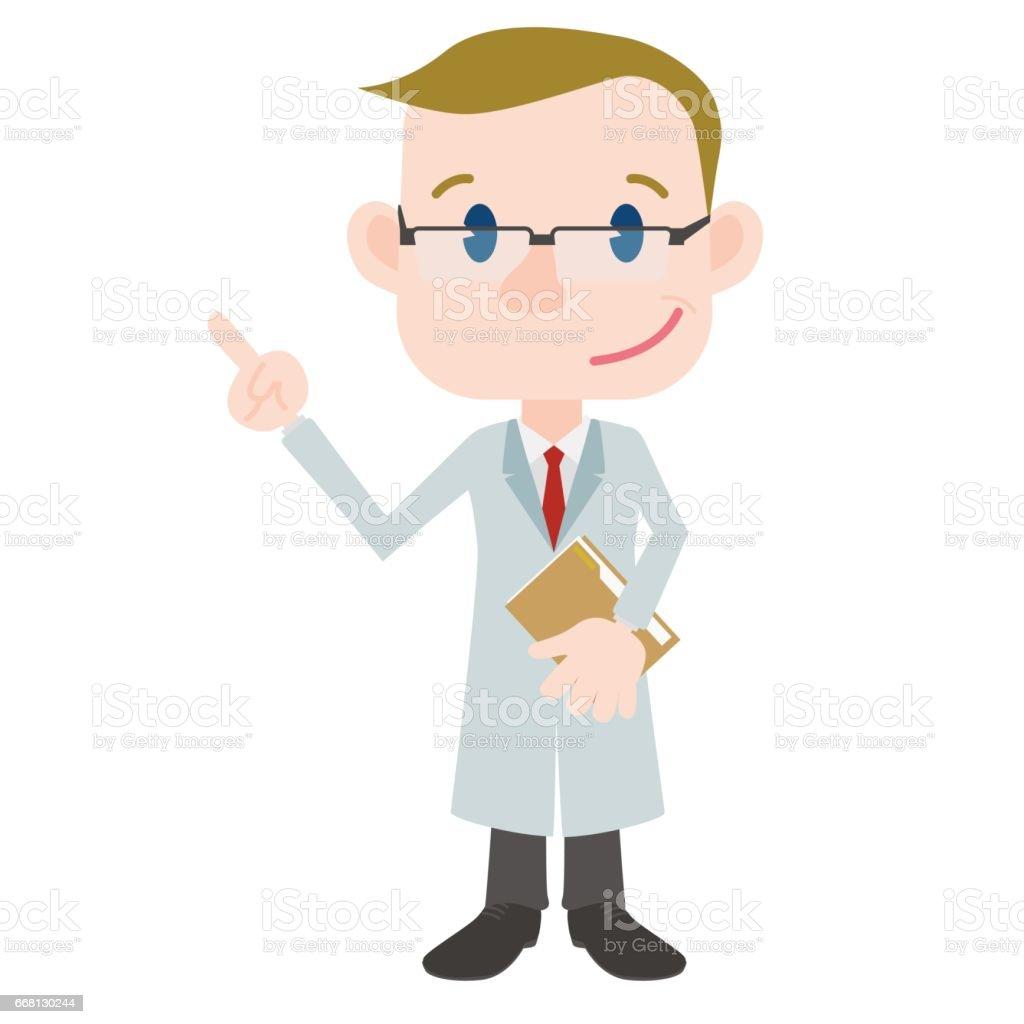 医師漫画文字ポインティング手話クリップアートします - 1人のベクター