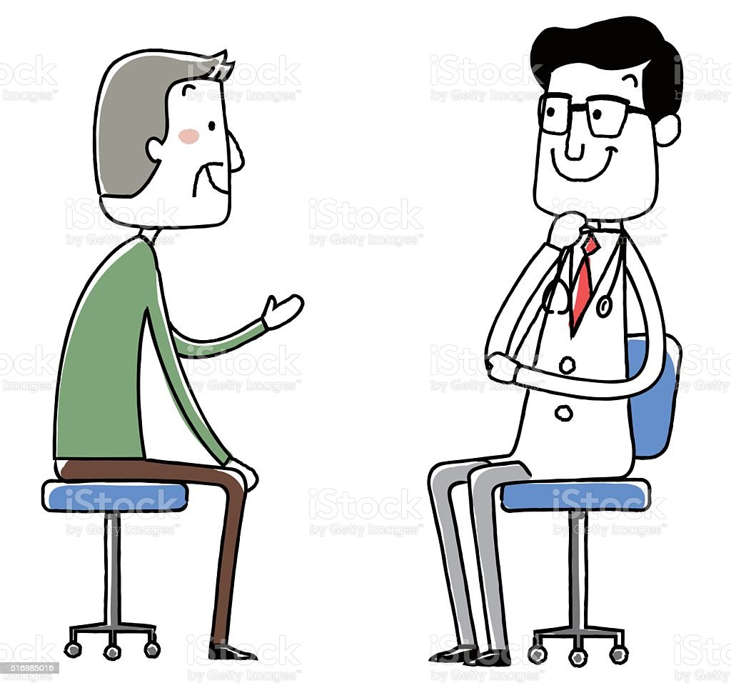 medical doctor. Examination of the elderly male. vector illustration. vector art illustration