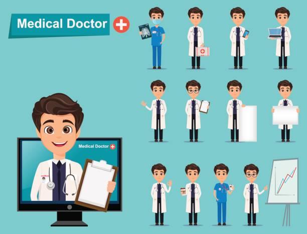 doktor der medizin gesetzt. niedliche cartoon-figur. vektor-illustration. eps10 - markenbrillen stock-grafiken, -clipart, -cartoons und -symbole