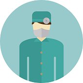 Medical doctor silhouette icon nurse or surgeon wearing scrubs with