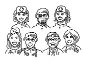 Medical Doctor Team Portraits Drawing