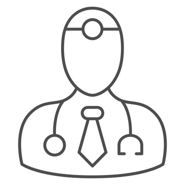 medical doctor dünnlinie symbol, medizinische tests konzept, arzt zeichen auf weißem hintergrund, arzt mit stethoskop-symbol im umriss-stil für mobiles konzept und web-design. vektorgrafiken. - hausarzt stock-grafiken, -clipart, -cartoons und -symbole